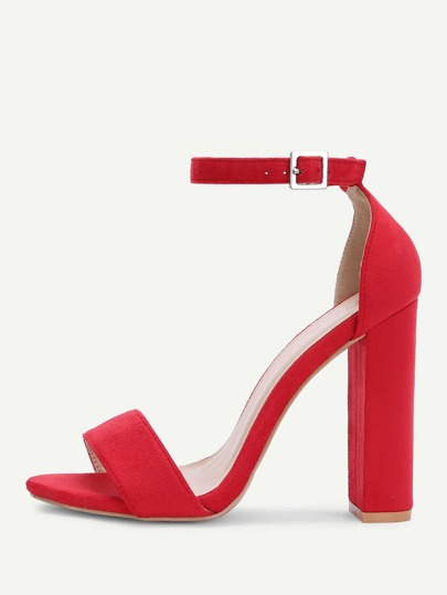 Two Part Ankle Strap PU Heels