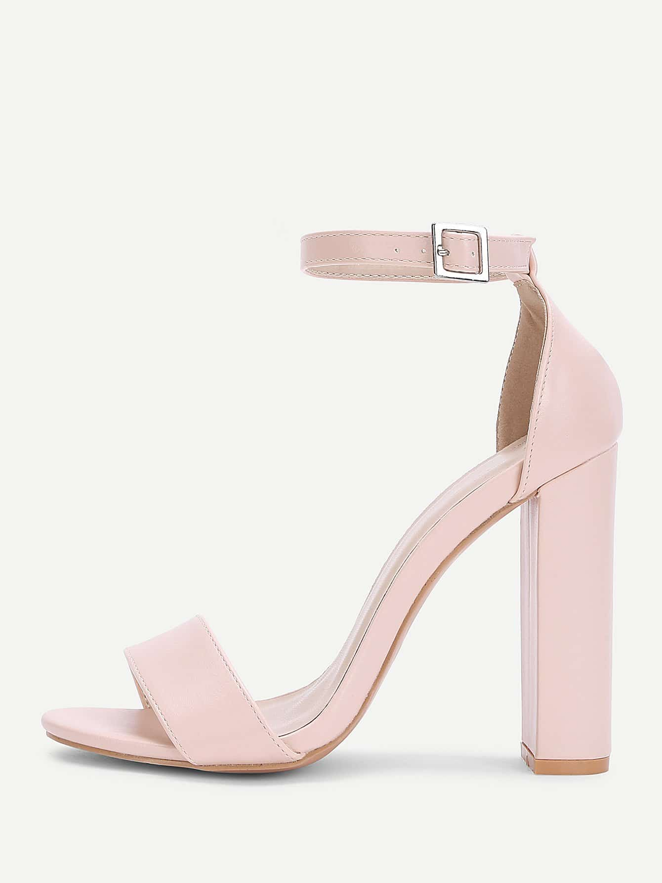Two Part Ankle Strap PU Heels two part stiletto heels