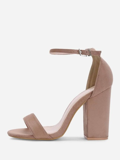 Two Part Ankle Strap Suede Heels