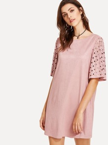 Star Cut Out Bell Sleeve Suede Dress