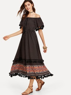 Ornate Print Tassel Detail Off Shoulder Dress