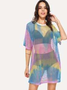 Pastel Tie Dye Mesh Dress