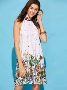 Self Tie Halter Neck Floral Dress