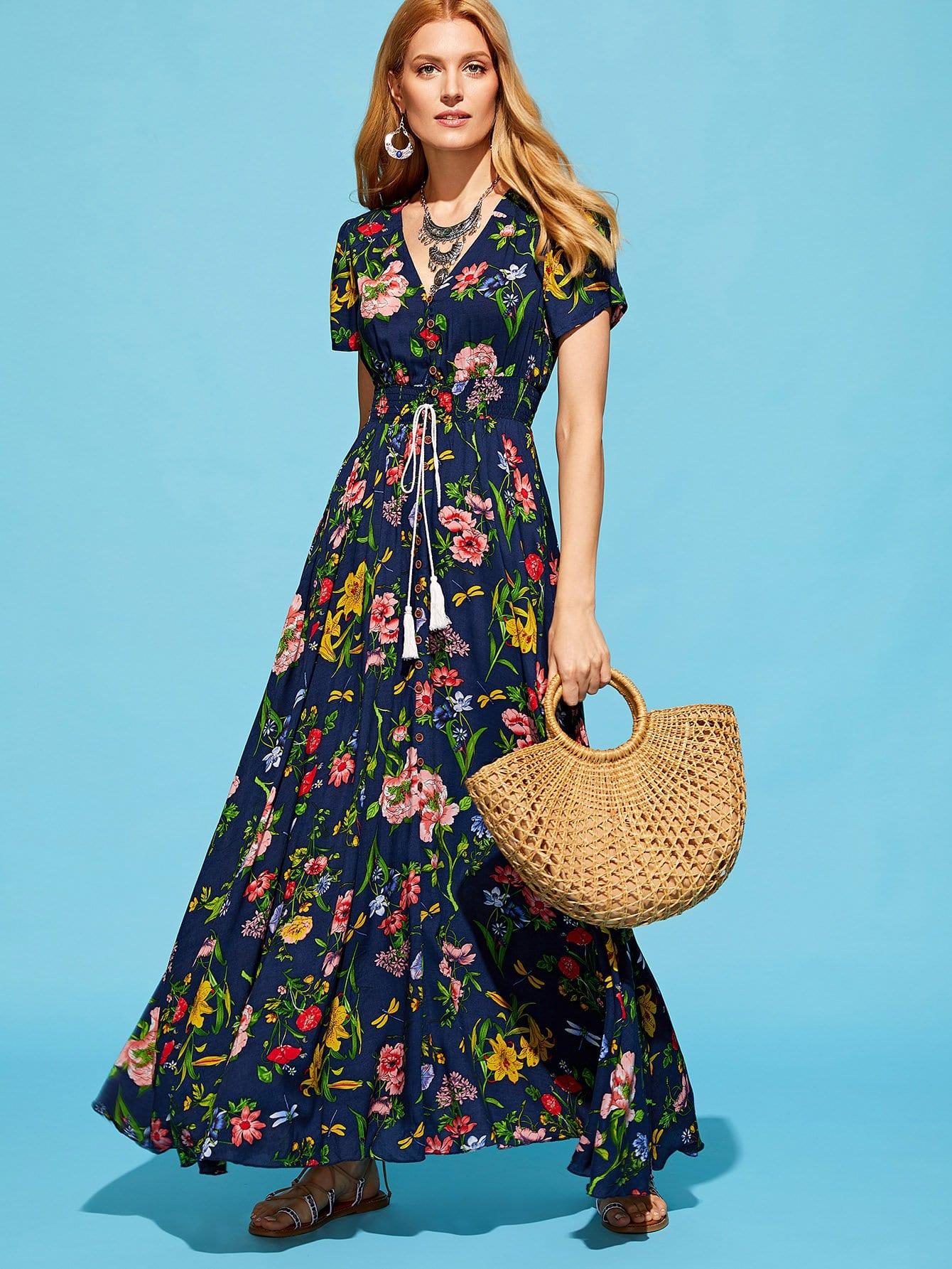 Tassel Tie Shirred Waist Button Up Botanical Dress patchwork zip up tie waist dress