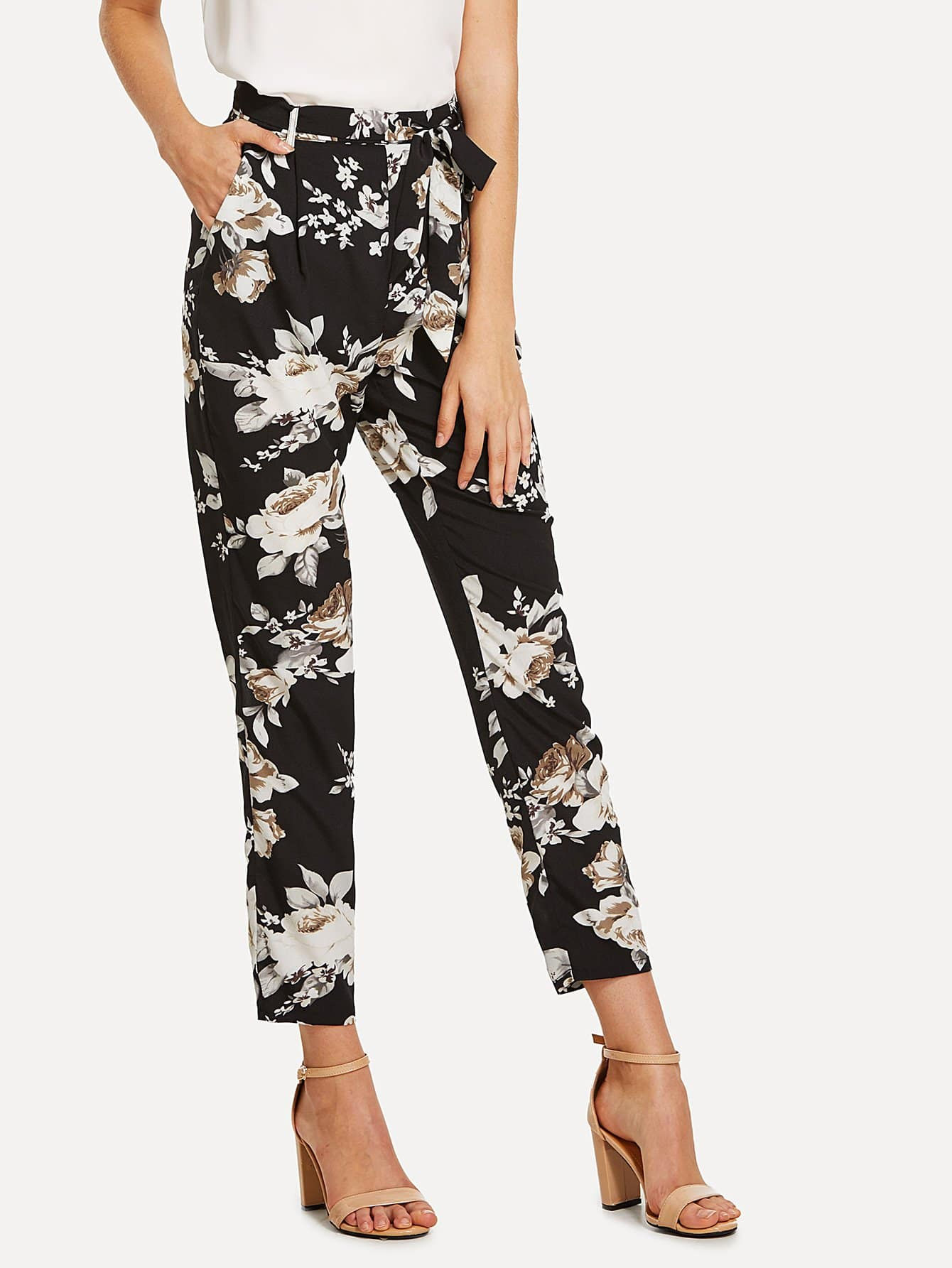 все цены на Self Belted Floral Peg Pants