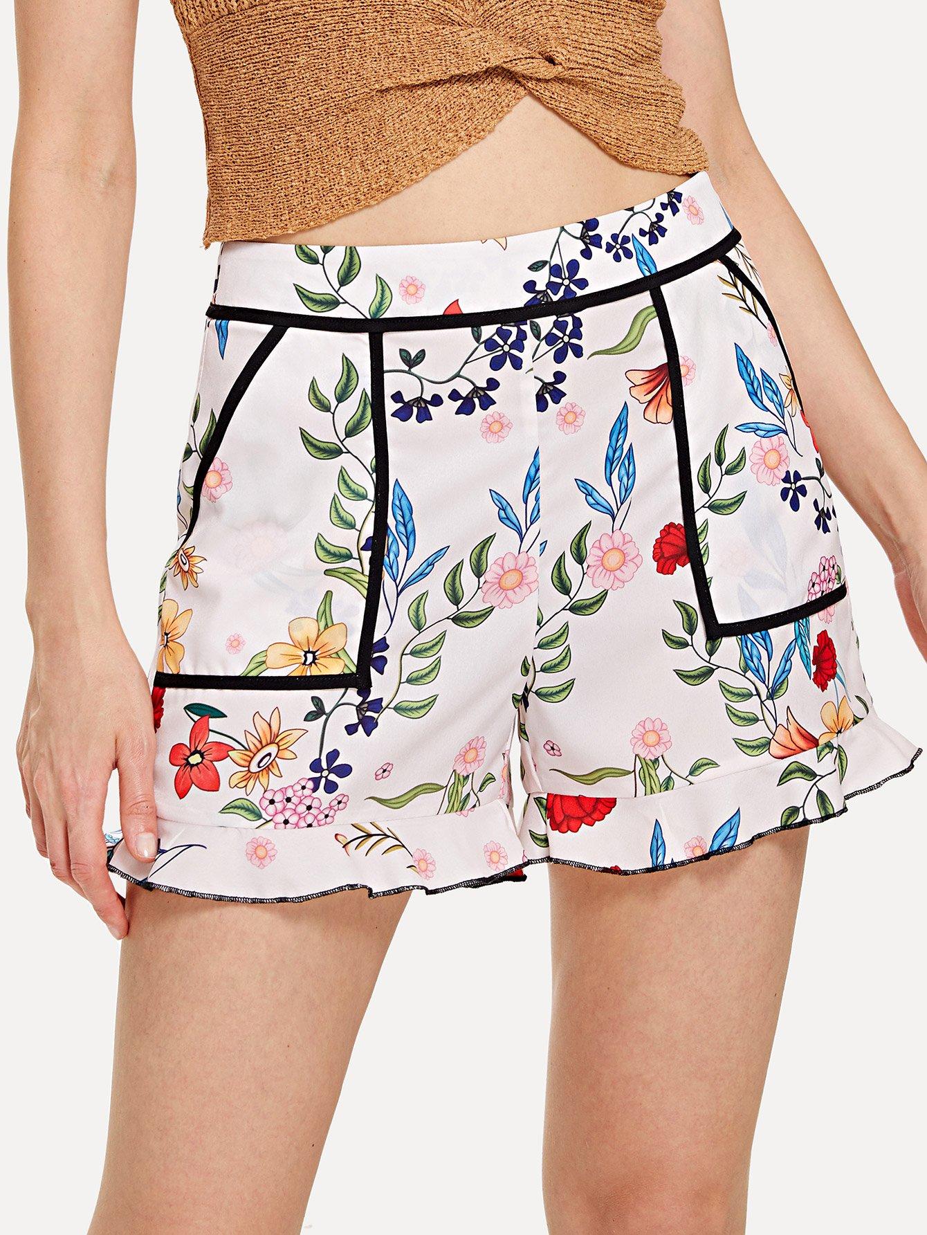 Contrast Binding Ruffle Hem Botanical Shorts contrast binding ruffle hem botanical shorts