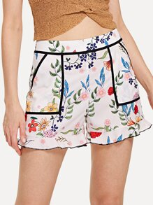 Contrast Binding Ruffle Hem Botanical Shorts