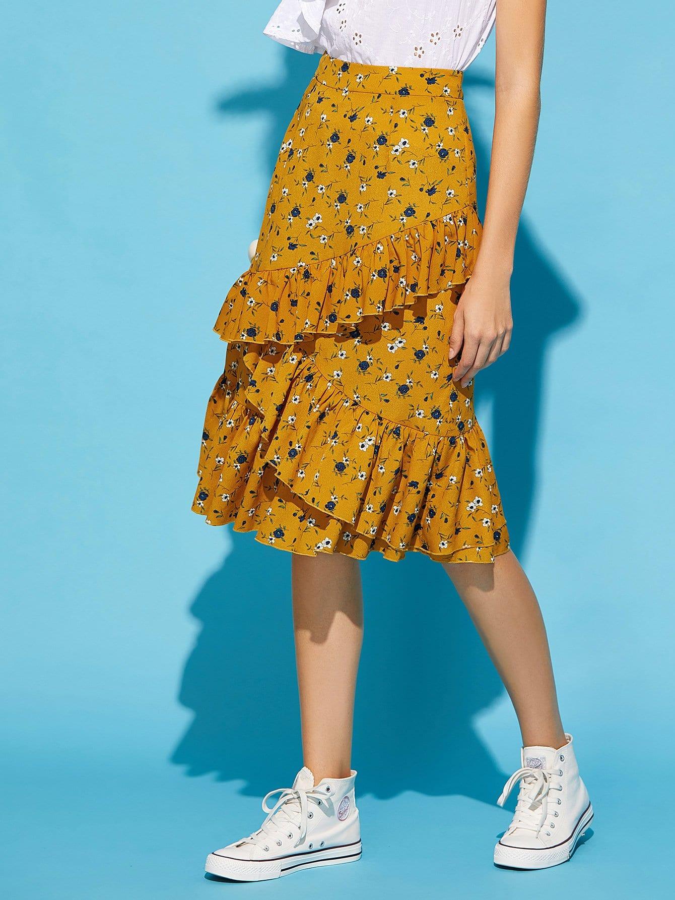 Купить Ассиметричная юбка в цветочек, Laura.H, SheIn