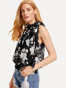 Floral Print Pleated Detail Top