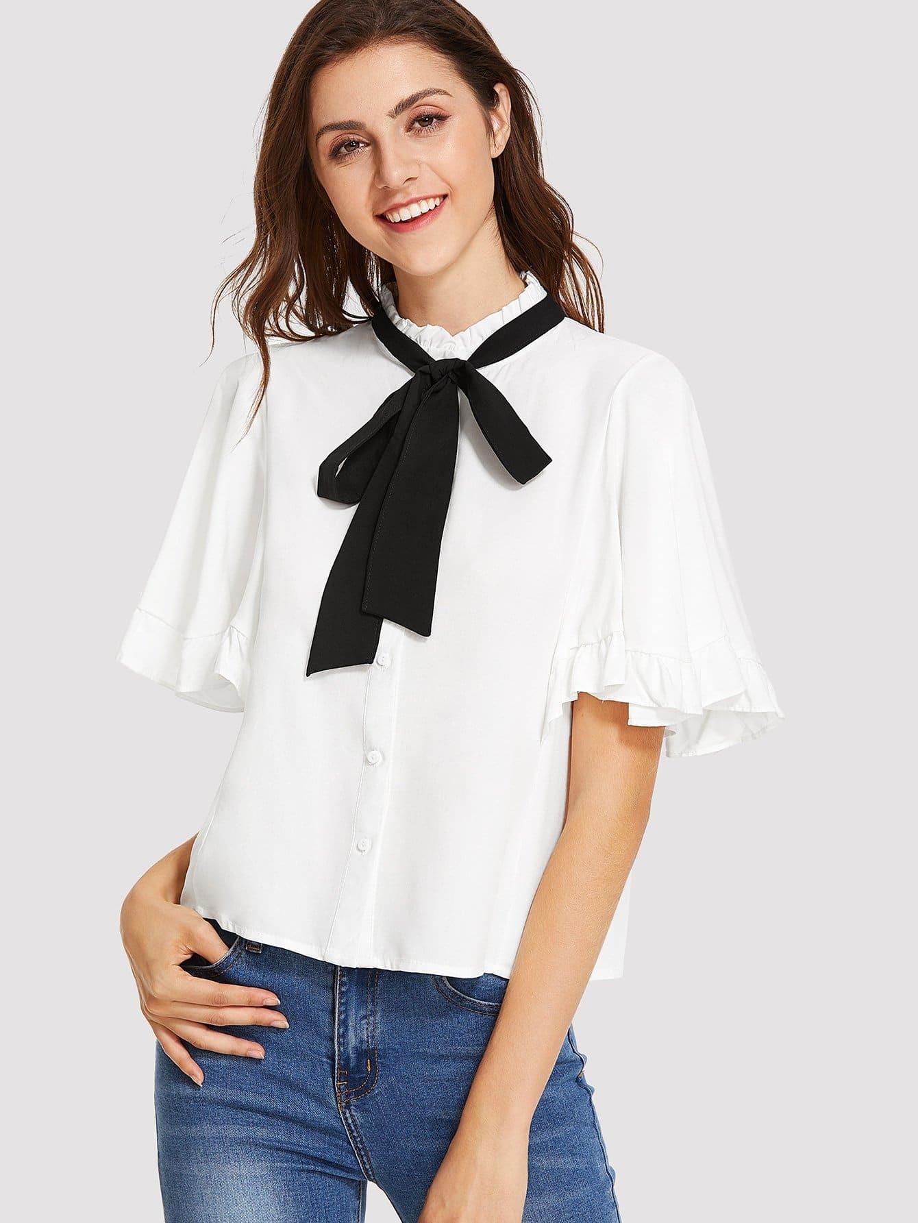 Frill Trim Tie Neck Shirt frill trim shirt