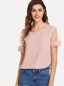 Embroidered Mesh Sleeve Panel Blouse