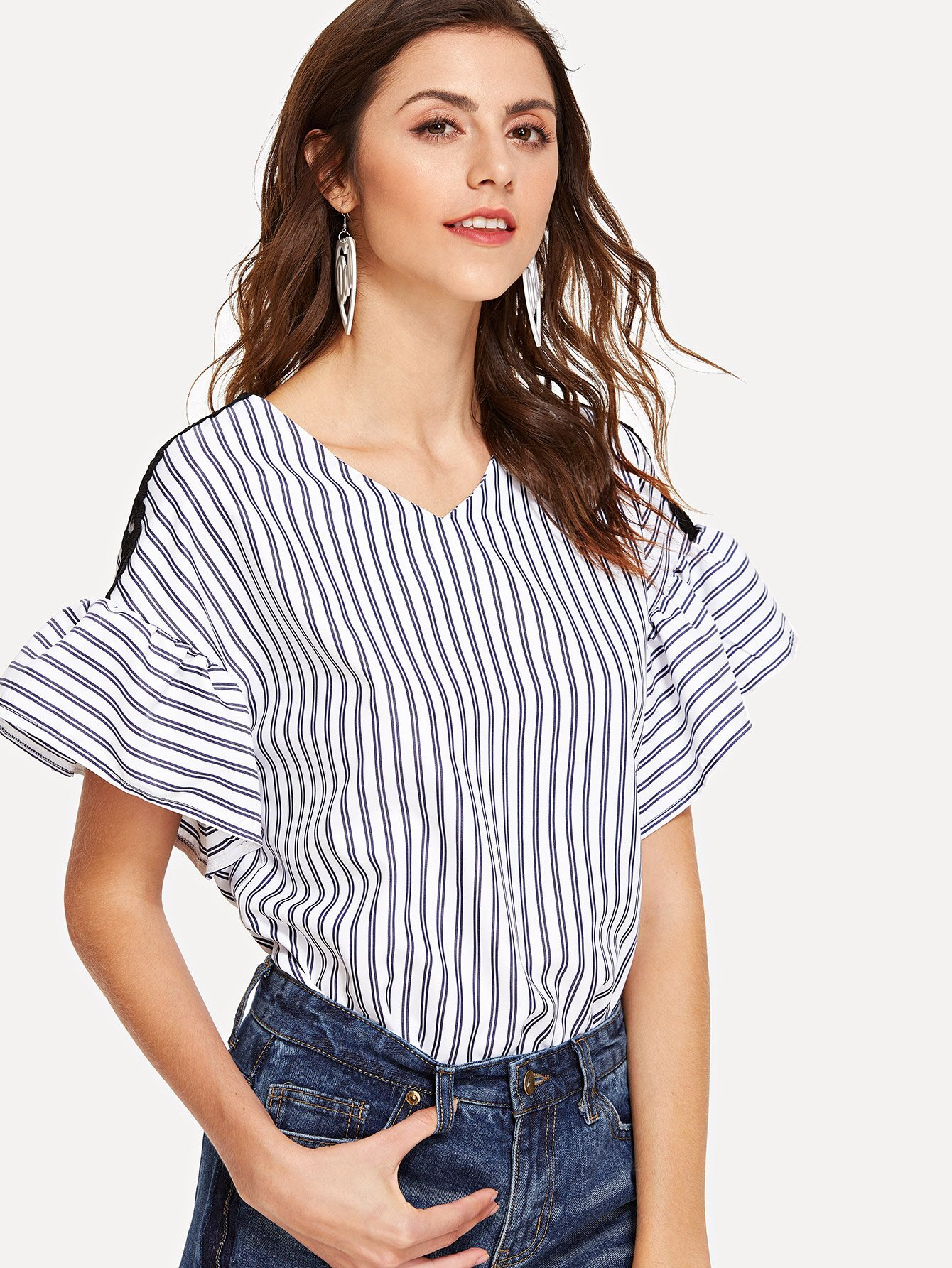 Lace Panel Flute Sleeve Striped Blouse contrast striped v neckline flute sleeve blouse