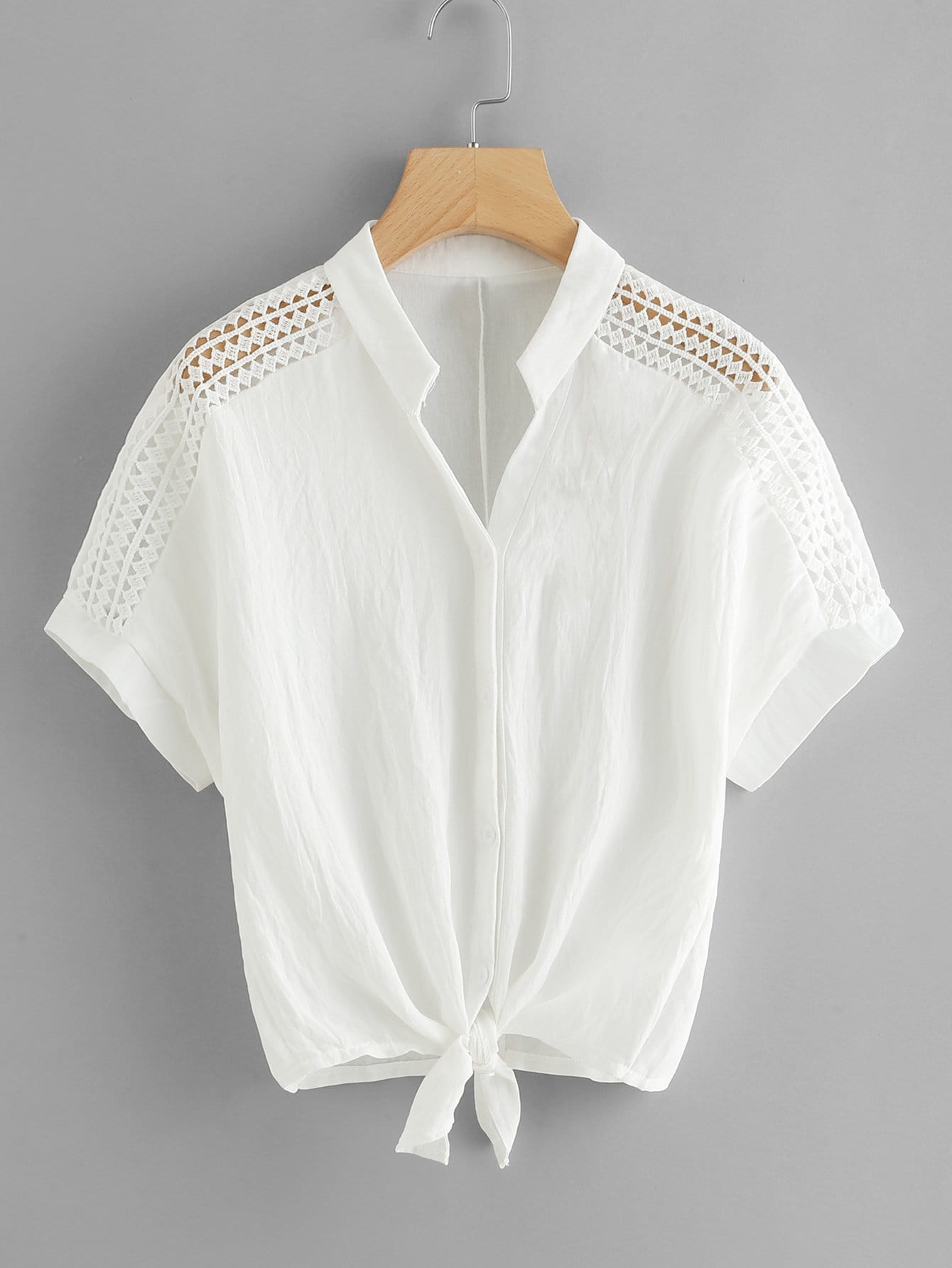 Hollow Out Crochet Panel Knot Front Blouse hollow out crochet panel blouse
