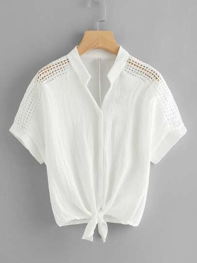 Hollow Out Crochet Panel Knot Front Blouse