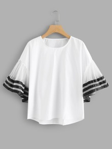 Mesh Panel Striped Trim Top