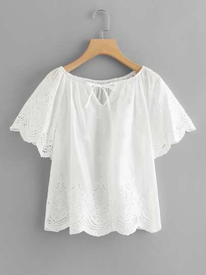 Scallop Trim Eyelet Embroidered Top