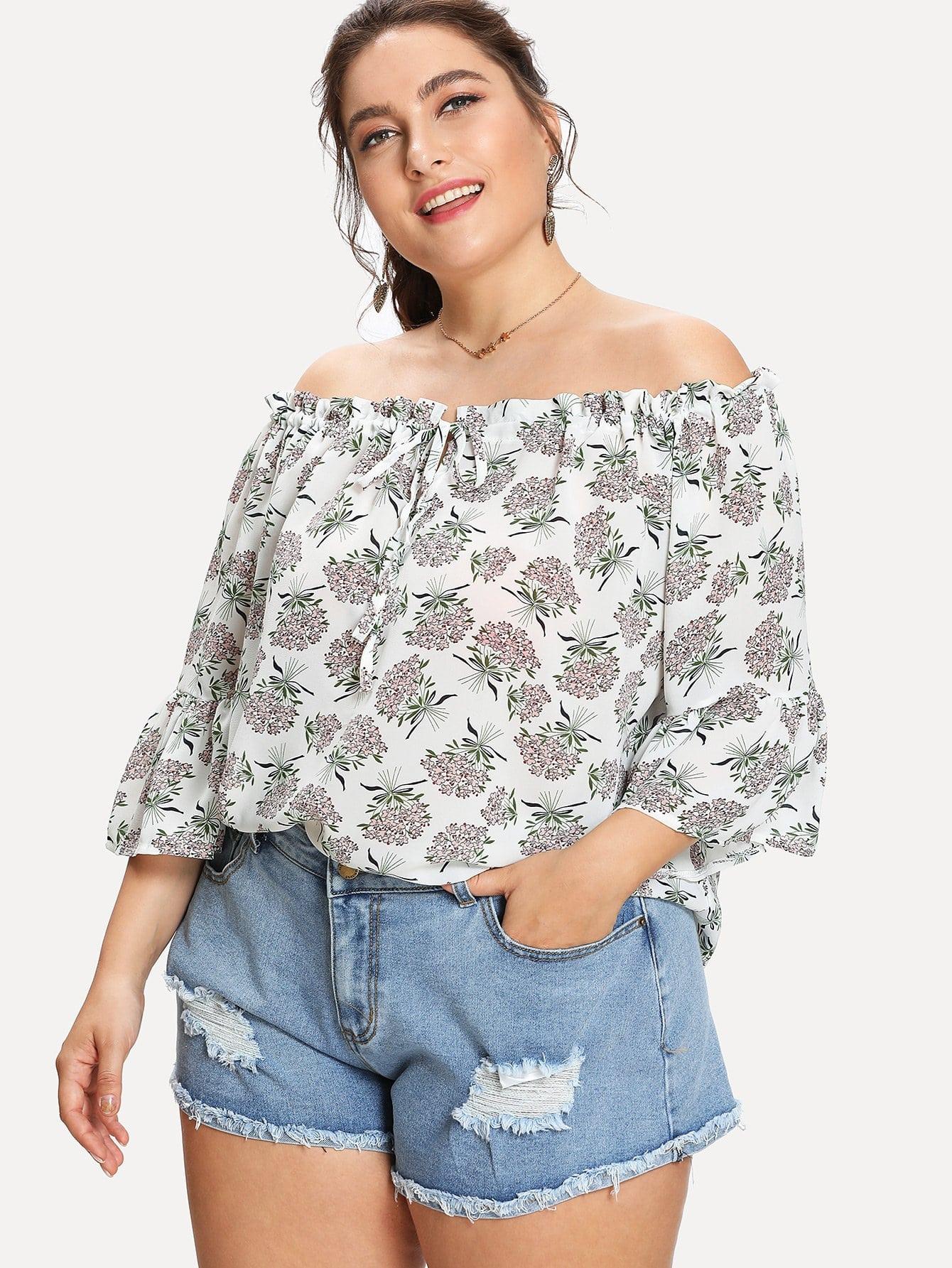 Off Shoulder Floral Print Blouse one shoulder floral print blouse
