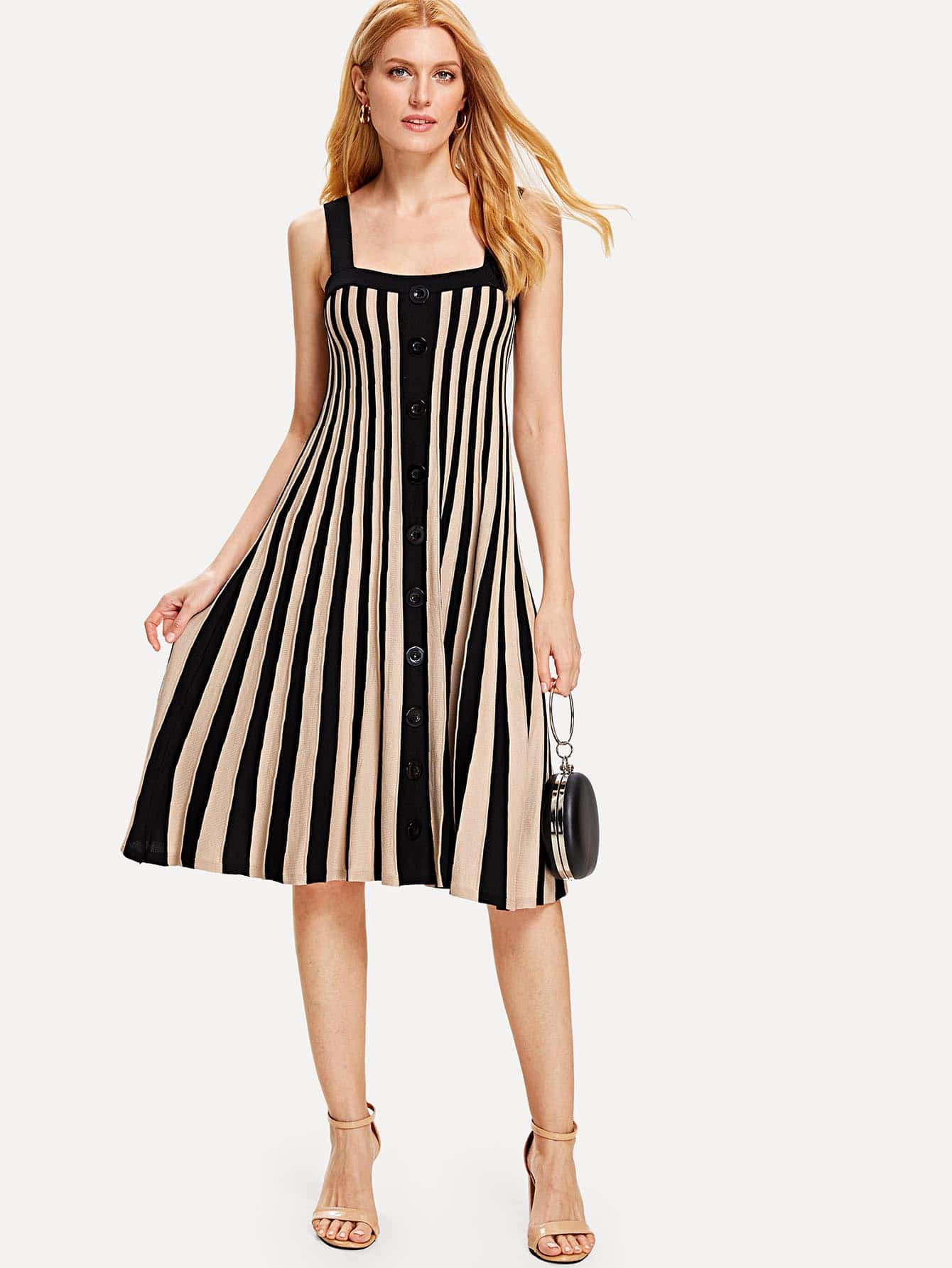 Contrast Striped Single Breasted Dress contrast striped single breasted dress
