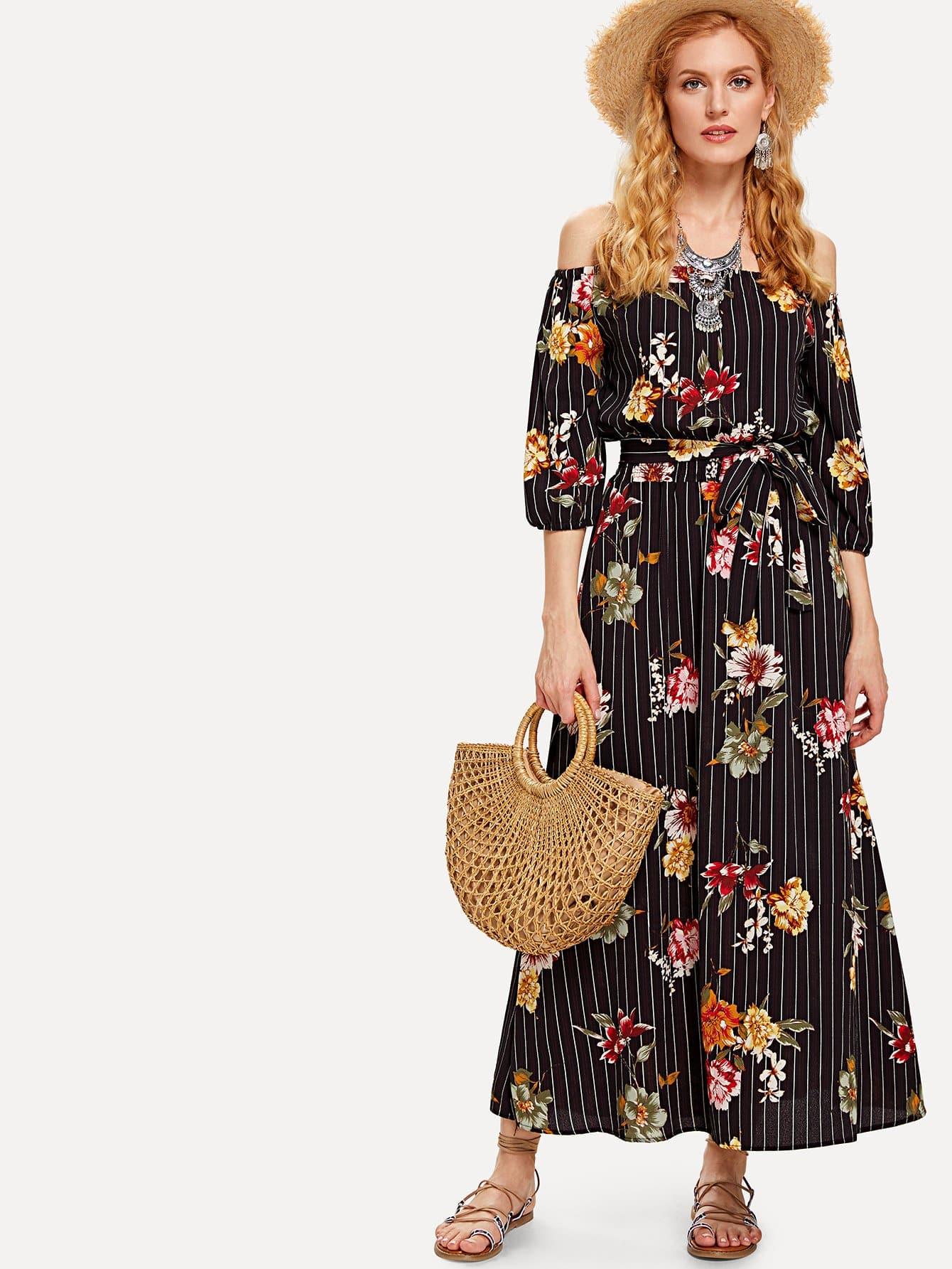 Off Shoulder Floral Print Striped Dress sweet off the shoulder floral dress for women