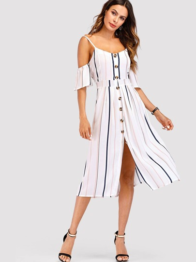 Open Shoulder Single Breasted Striped Dress