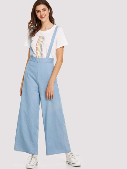 Solid Wide Leg Pinafore Jumpsuit