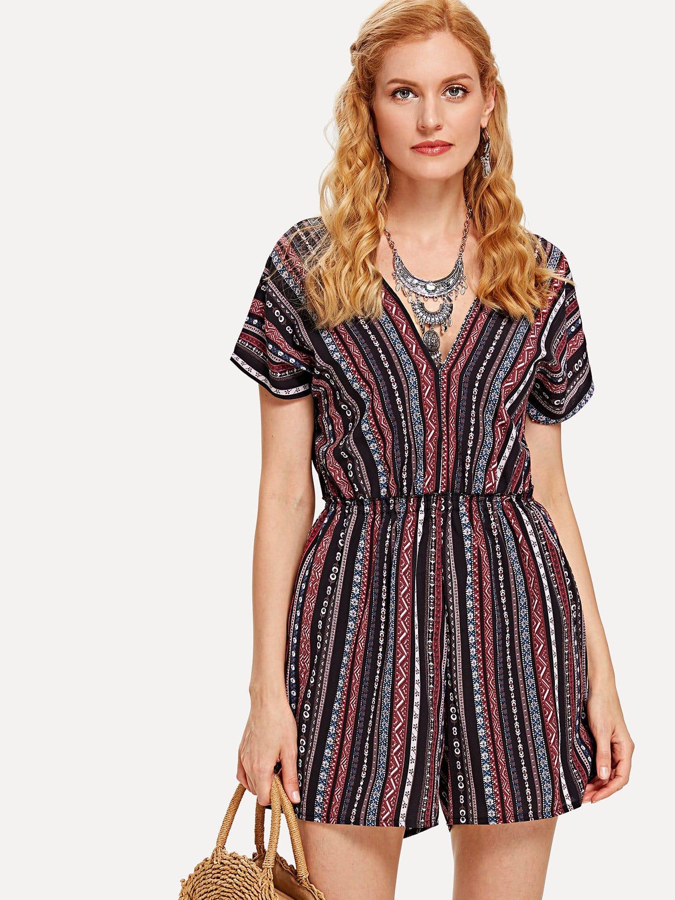Contrast Striped V Neckline Jumpsuit v neckline contrast floral print striped tee