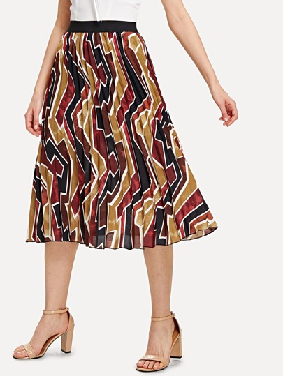 Geo Print Pleated Skirt