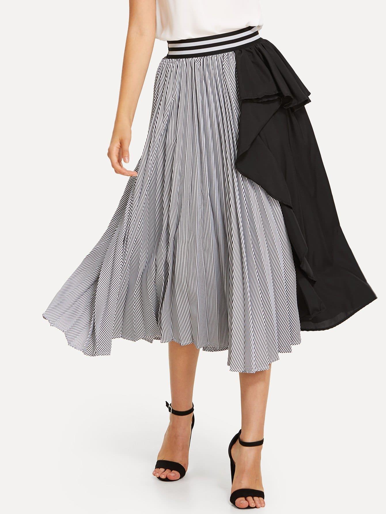 Купить Двухцветная юбка, Laura.H, SheIn