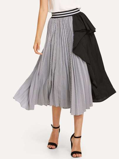 Striped Trim Colorblock Pleated Skirt