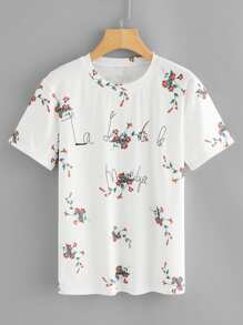 Letter & Floral Print Tee