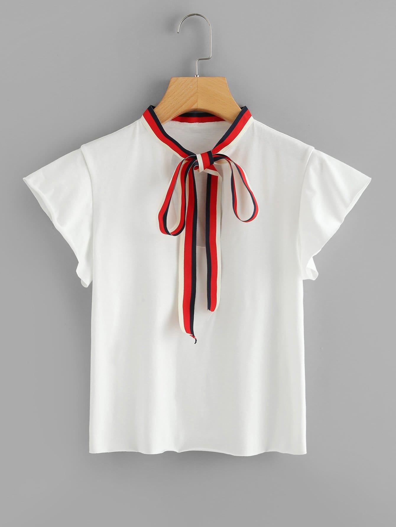 Contrast Striped Tie Neck Tee
