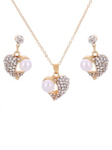 Faux Pearl & Heart Necklace With Earrings