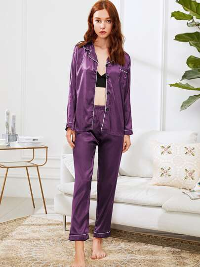 Contrast Binding Satin Shirt & Pants PJ Set