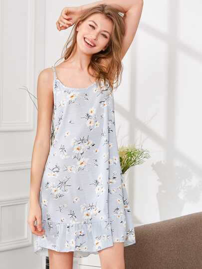 Flower Print Ruffle Hem Cami Dress