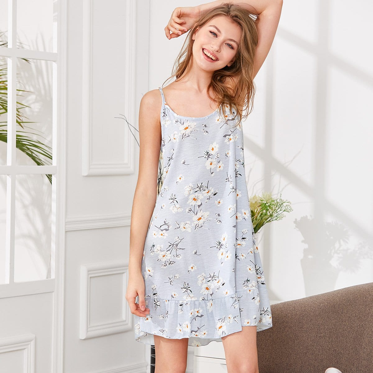 Flower Print Ruffle Hem Cami Dress