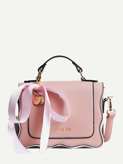 Scalloped Trim Ribbon Tie Bag
