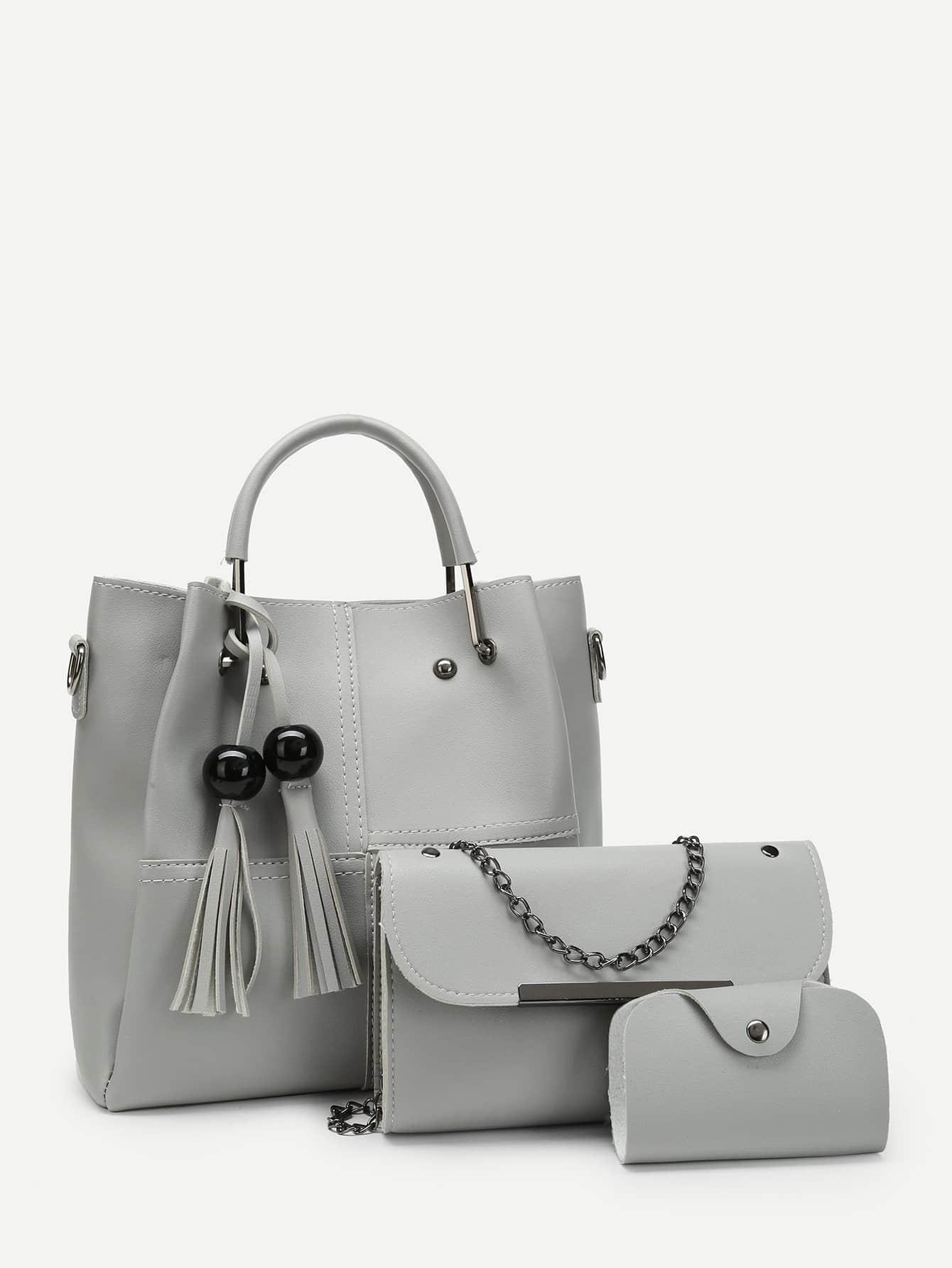 Tassel Charm Tote Bag 3pcs tote bag with round charm