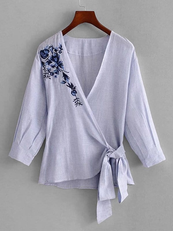 Vertical-Striped Embroidery Wrap Blouse striped wrap blouse