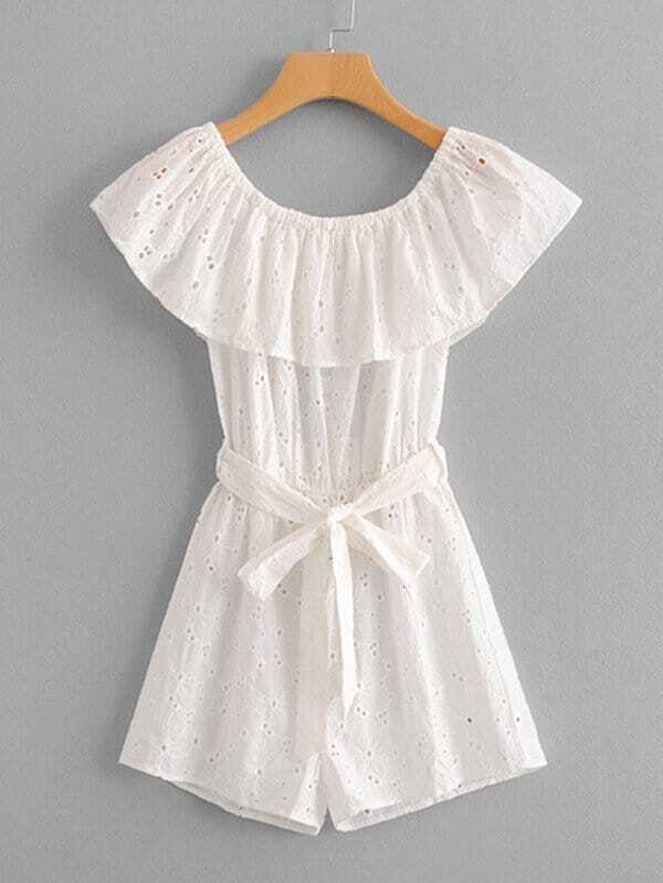 Eyelet Embroidered Ruffle Layered Belted Romper belted flounce satin ruffle romper