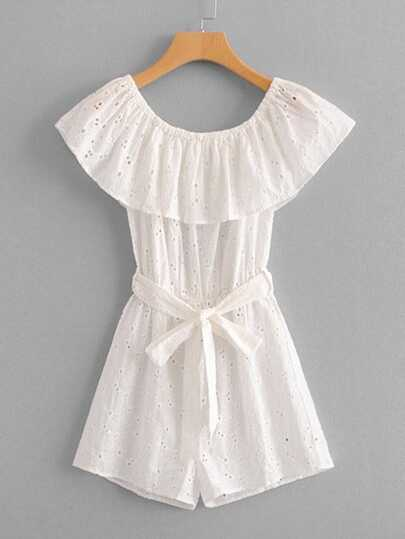 Eyelet Embroidered Ruffle Layered Belted Romper
