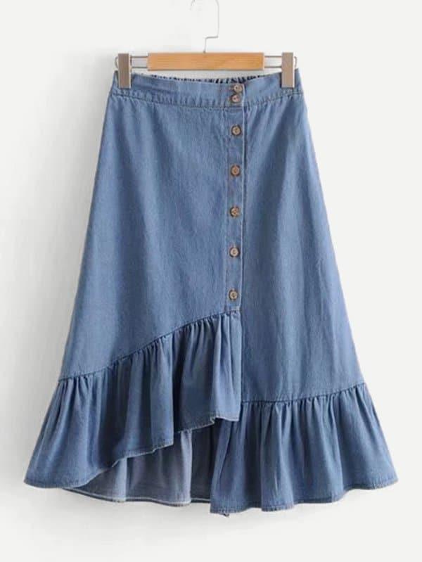 Asymmetric Ruffle Hem Denim Skirt asymmetric hem spot skirt