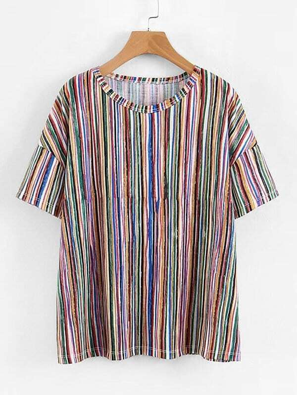 Multi-Stripe Drop Shoulder Tee two tone drop shoulder tee