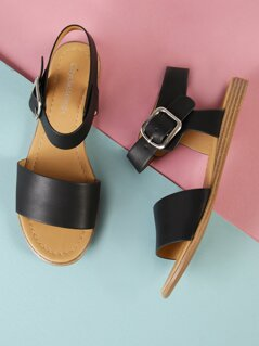 Buckle Ankle Strap Single Band Sandal