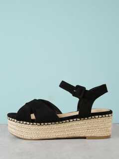 Faux Suede Ankle Strap Espadrille Platform Wedge Sandal