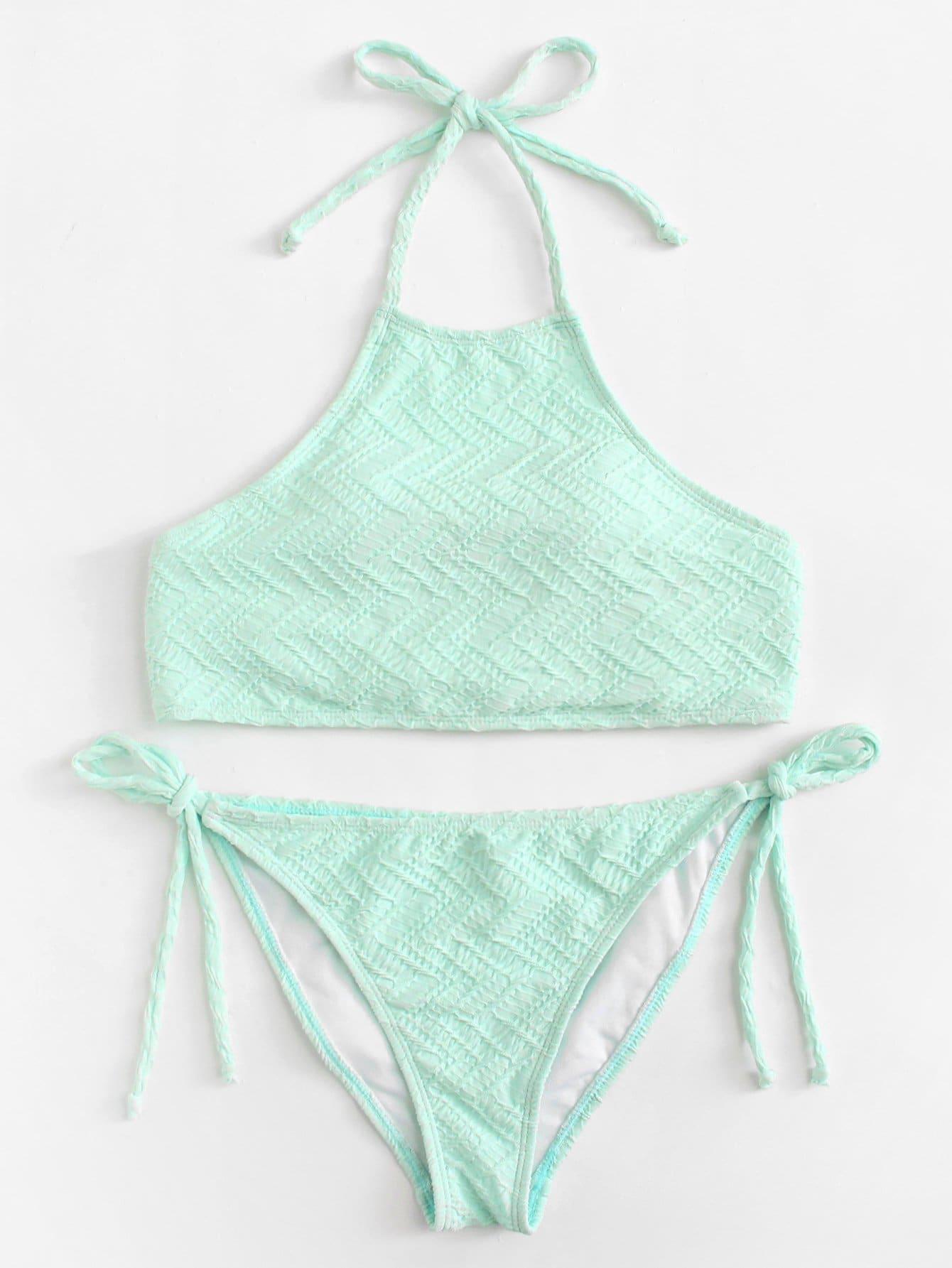 High Neck Tie Side Bikini Set
