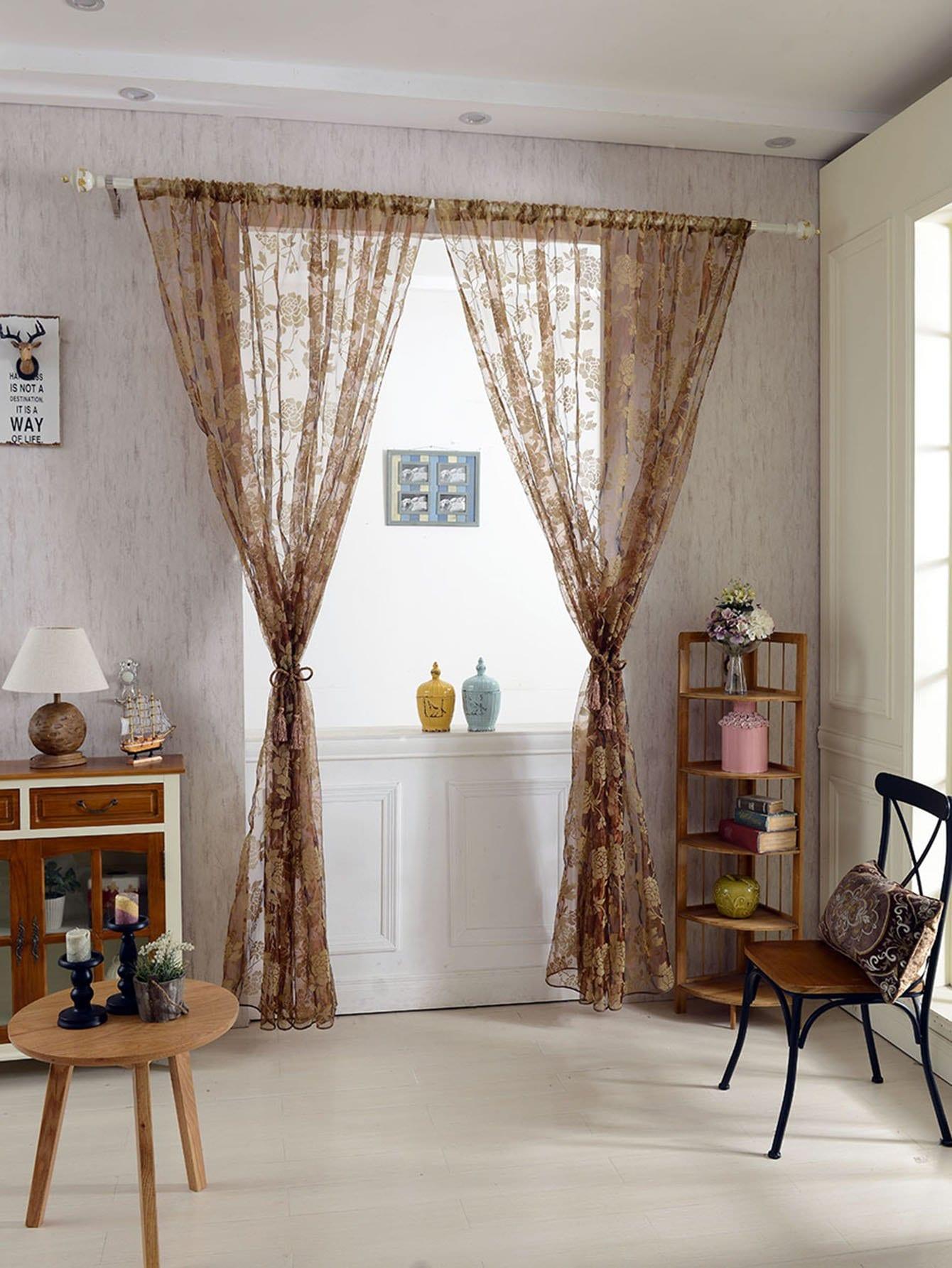 Peony Overlay Mesh Curtain 1pc