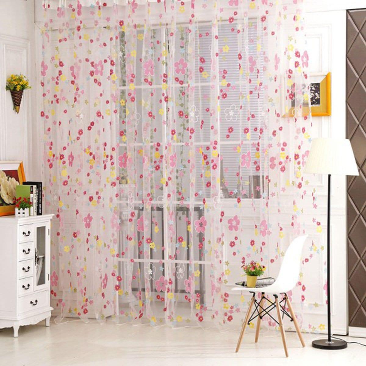 Doorzichtig gordijn met florale print