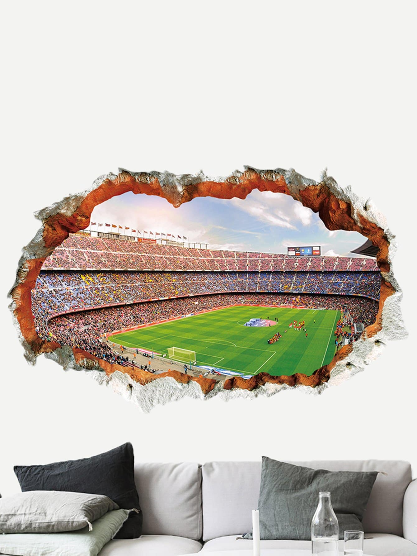 3D Football Field Wall Sticker teva women s w tirra slide slide