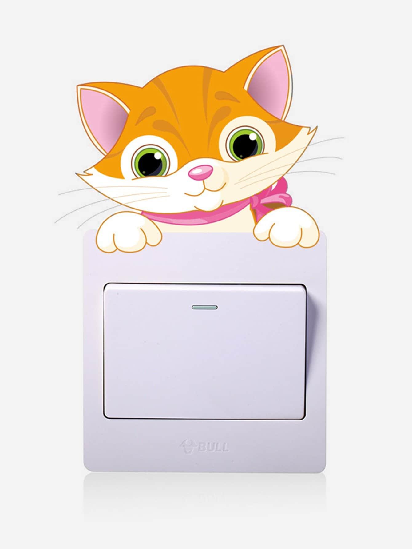 Купить Cartoon Fox Plug & Switch Button Sticker, null, SheIn
