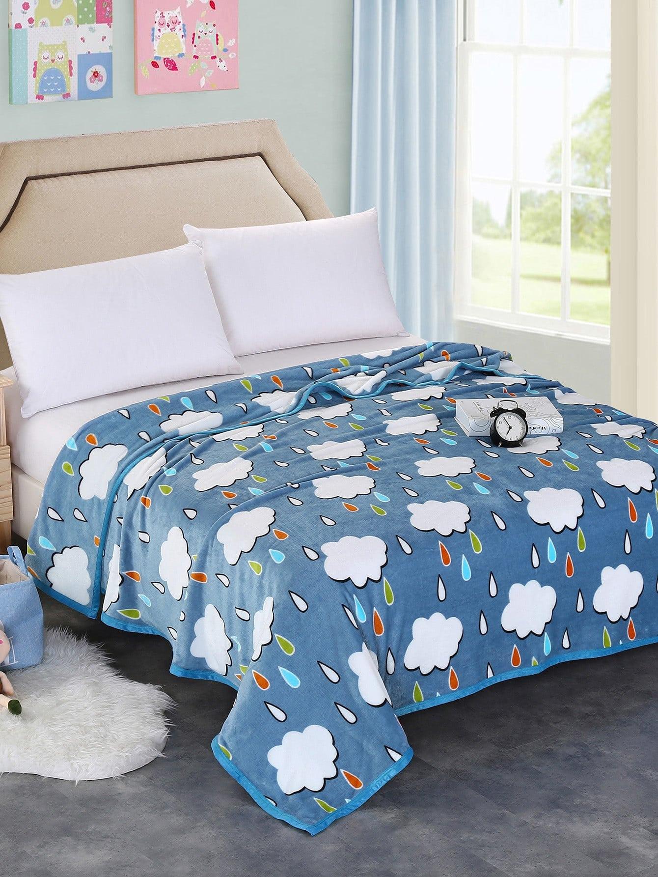 Купить Плюшевое одеяло с принтом мультики, null, SheIn